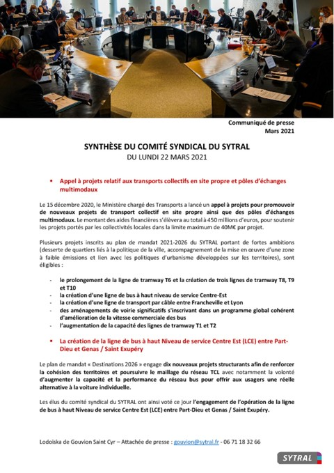 Synthèse du Comité syndical du 22 mars 2021