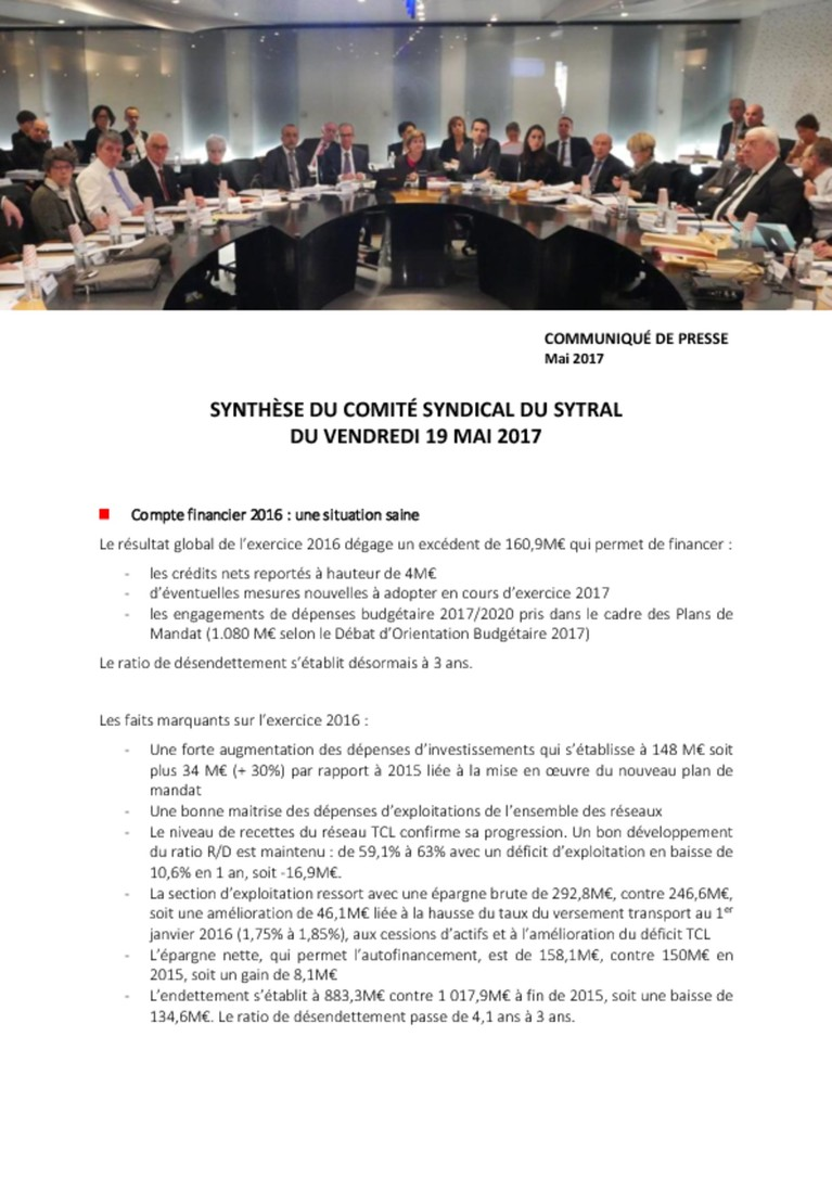 Synthèse du comité syndical du 19/05/2017