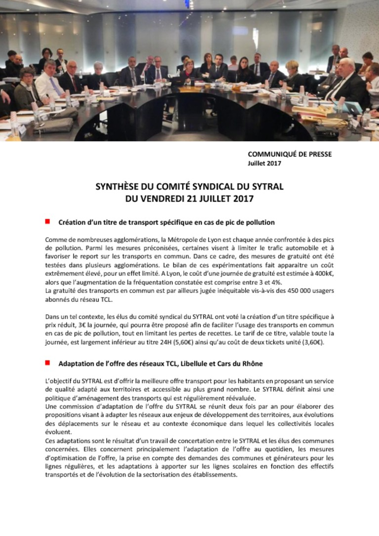 Synthèse du comité syndical du 21/07/2017