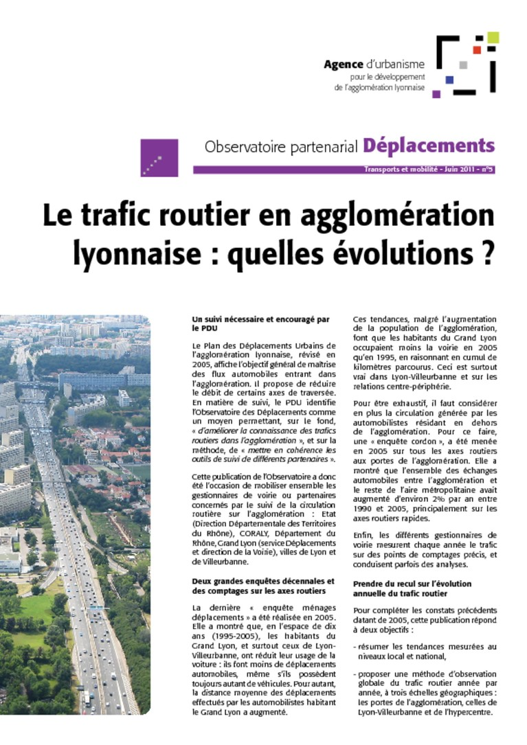 Observatoire Deplacement lettre n°5 trafic routier