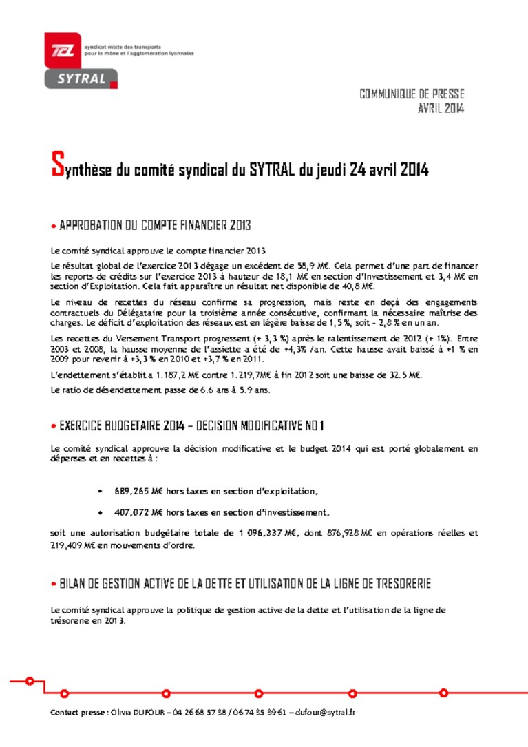 Synthèse comité syndical du 24 avril 2014